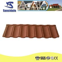 Durable stone chip coated colour steel roof accessory tile red roof shingles made in China