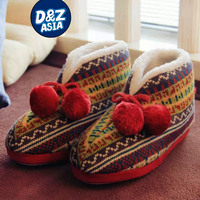 Slippers women vintage Scottish home slippers color knitting shoes