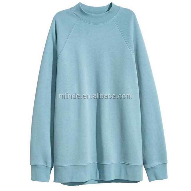 Custom Clothing Cheap Plain Blank Blue Womens Oversized No Hooded Sweatshirt Pullover No Brand Name Hoodies