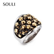 Hip Hop Halloween Jewelry 316L Stainless Steel Multiple Skulls Men's Ring