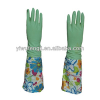 cotton lined kitchen/cleaning/washing yellow natural latex flocklined household gloves sprayed