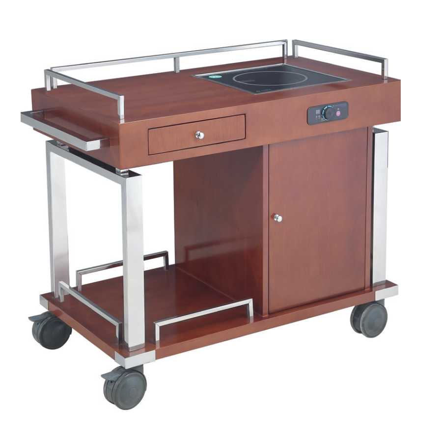 Wooden induction cooker trolley/ Flambe Cooking Trolley