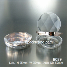 Diamond simple compact powder box powder case round plastic cosmetic powder container make up compact powder