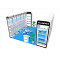 Detian offer portable trade show booth stands with shelfing display table