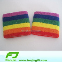 custom your logo sport bracelet terry rainbow sweat wristband