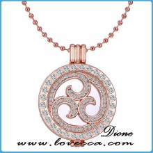 Rose Gold Coin Locket Disc Holder Pendant Necklace Sets Wholesale