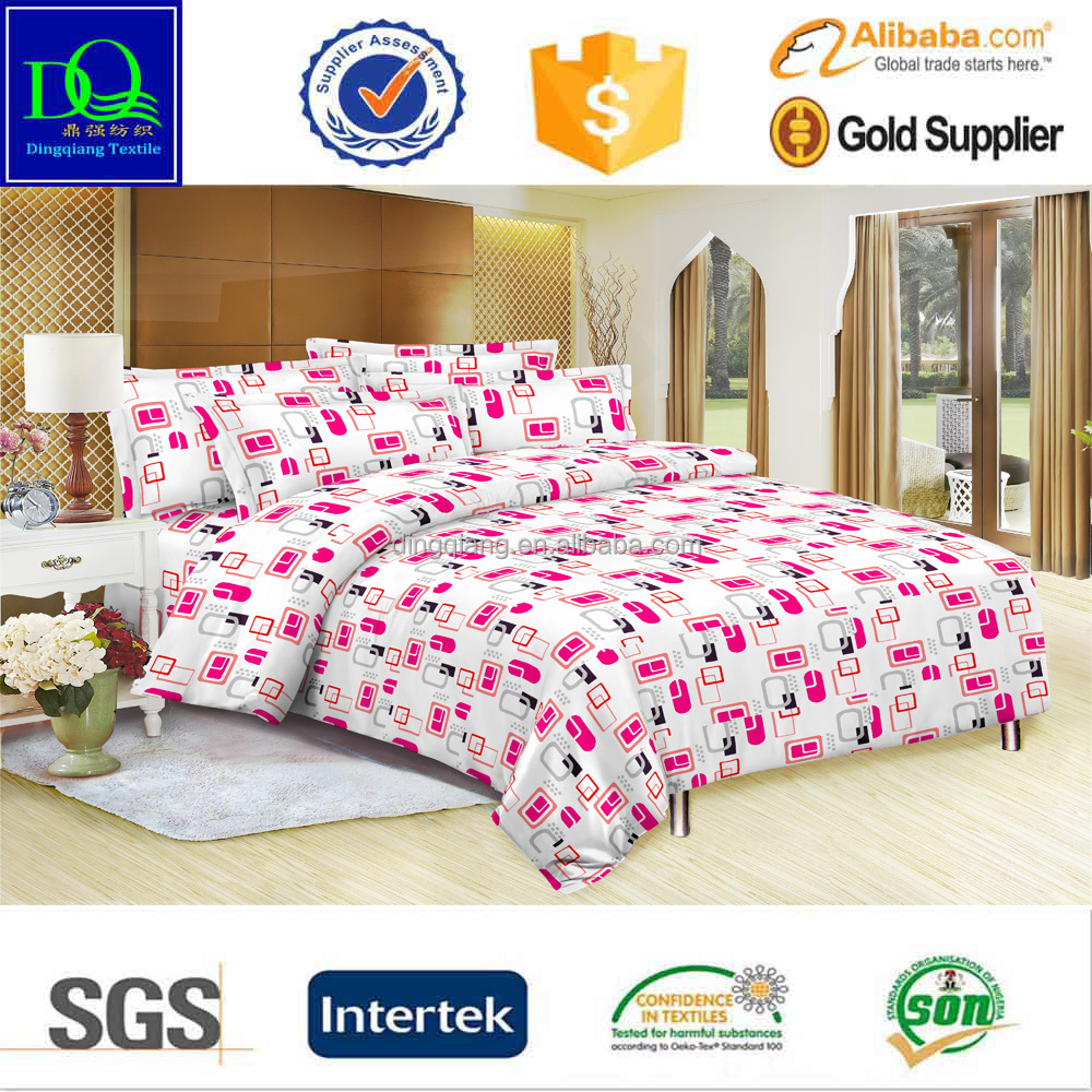 Geometric design bedding set 75D*150D 100% printed polyester microfiber fabric