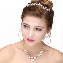 Amazon Hot Sale Rhinestone Floral Tiara Necklace Earring Gold Jewelry Sets Women Bridal Accessories Wedding Jewelry Set