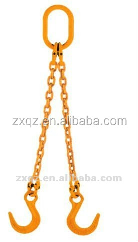 Two legs lifting chain sling with hook