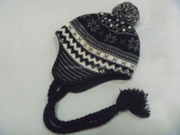 jacquard style ear flap knitted hat, with pom and braid