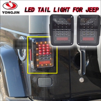 Promotion black housing for jeep wrangler tj taillight signal brake auto led tail light for pair 07-15 Jeep wrangler