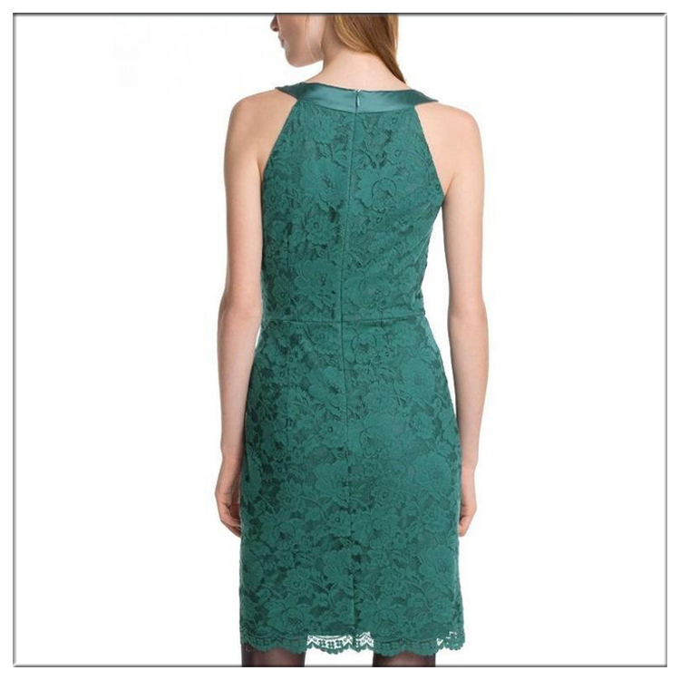 Fashionable famous round design sleeveless ladies lace slpicing mini dress for women