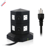 US Standard ul Round Vertical USB charging ports Tower Power Strip socket with Surge Protector