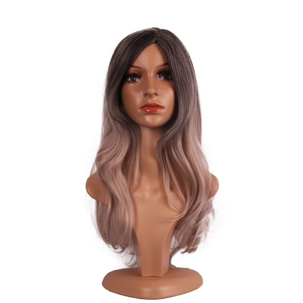 wavy two tone fake human hair wig heat resistant synthetic lace front wig natural grey afro hair wig
