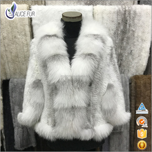 High Quality Fashionable Handmade Knitted Cross Mink Fur Shawl with Real Fox Fur Trim