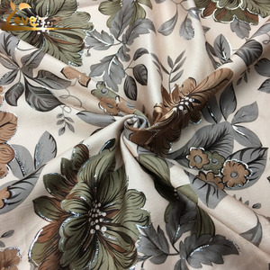 polyester super soft velvet fabric digital bronzed printed textile fabric sofa