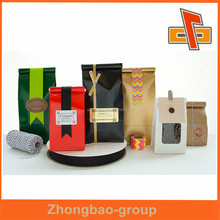 Eco-friendly side gusset plastic custom coffee packaging bags with valve and tin tie for packing