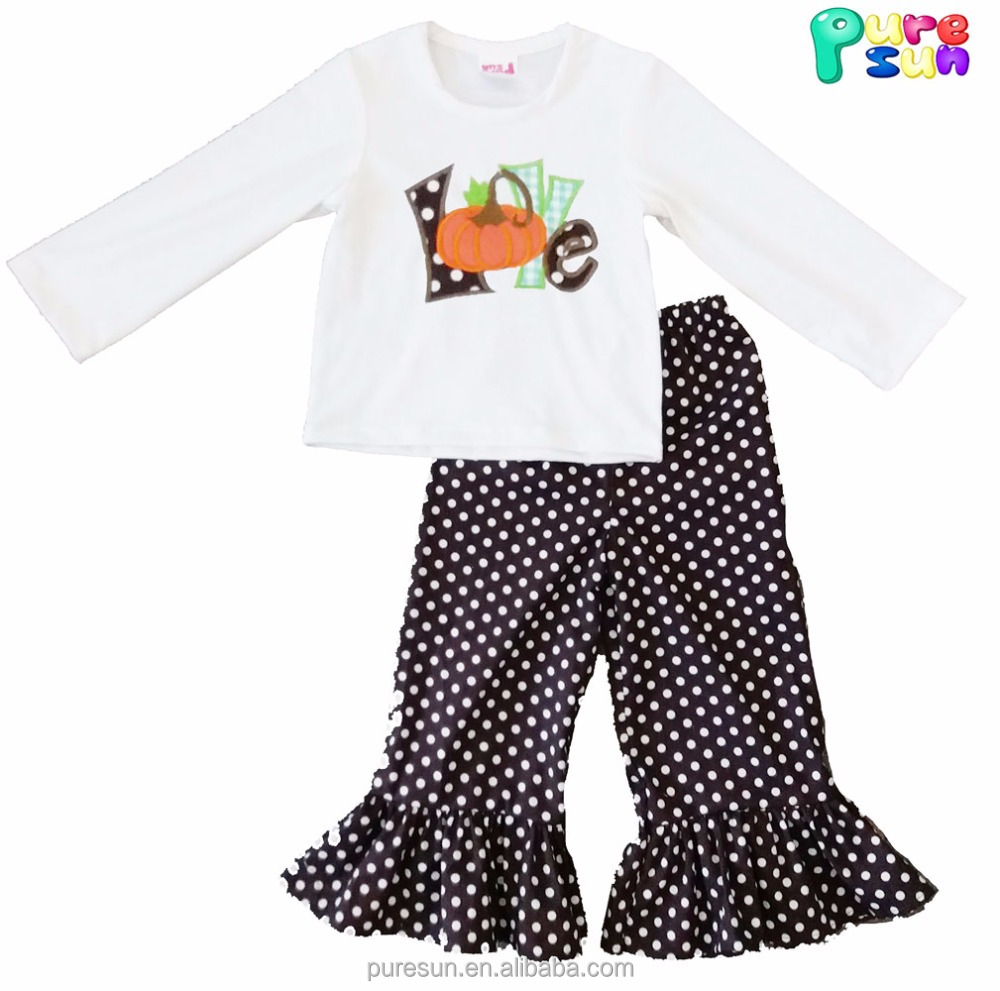 new styles brown polka dots halloween baby girl boutique clothing sets