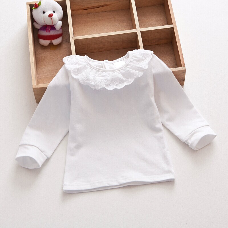 Baby girls 100% cotton pure colors top with falbala long sleeve t-shirt