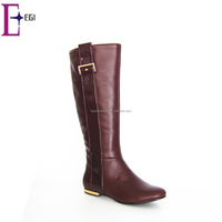 ladies burgundy no heel flat safety knee high boots shoes