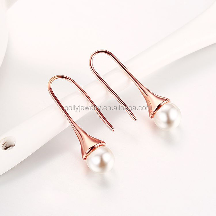 Daily Wear Simple Elegant Office Lady Look 18K Rose Gold Plated Single White Pearl Drop Earrings