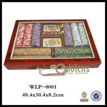 Professional Clear Glass Top 500pcs Poker Set in Wooden Box