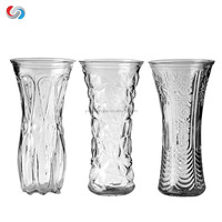 different types Lead-free clear handmade cheap emboss tall glass vases
