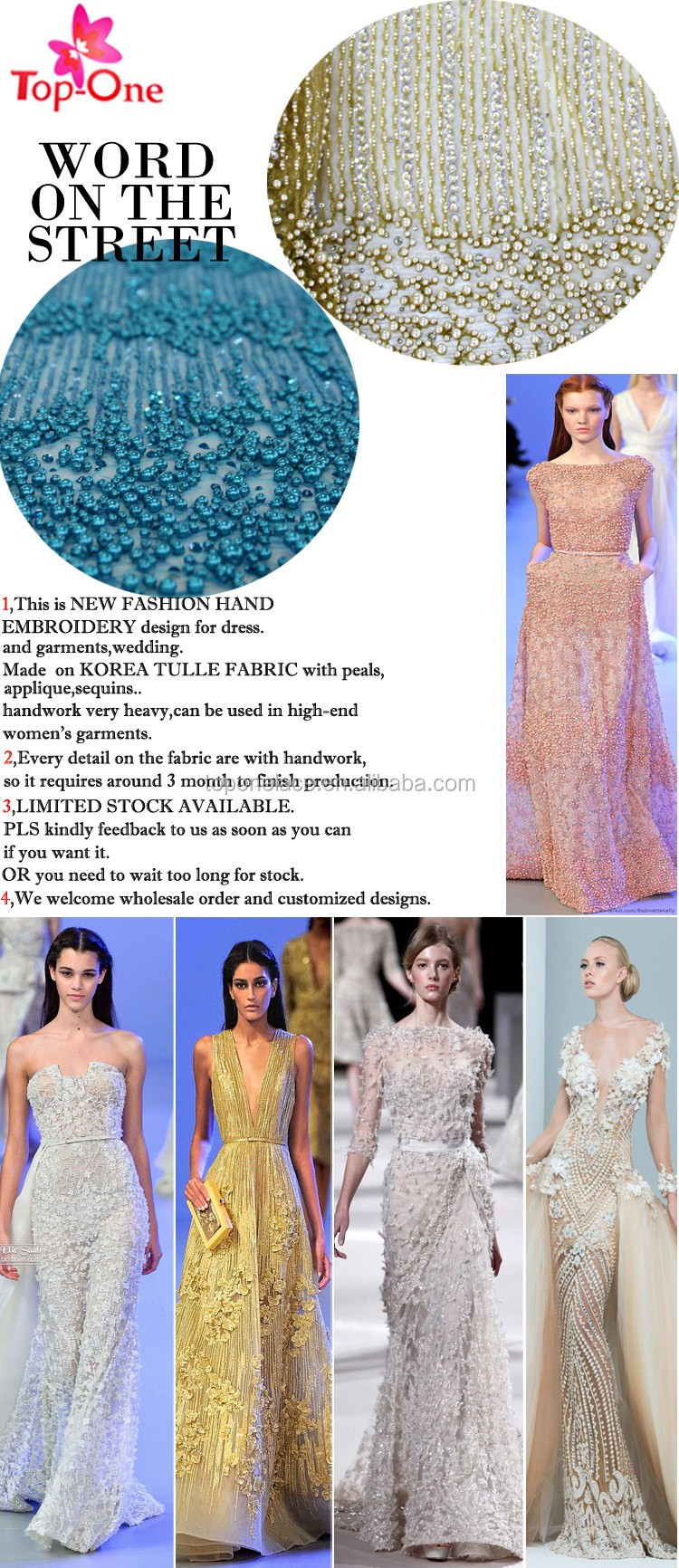 Haute Couture Heavy Beaded Lace Fabric with embroidery on mesh lace Hand Beaded French lace border