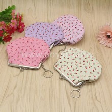 Hot sale new design fashionable rose cloth art wholesale coin purse