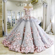 Fashion Sheer O-Neck Ball Gown Wedding Dresses with Flower Appliques Long Train Wedding Dress For Custom Made Bridal Gowns