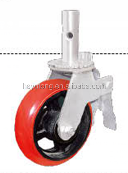 Factory supply 6 inches scaffolding caster wheel, pu core is cast iron
