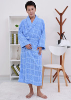 best selling products patterned cotton yarn dyed plaid bathrobe for men