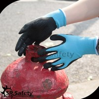 SRSAFETY nitrile dots on palm anti slip hand working glove