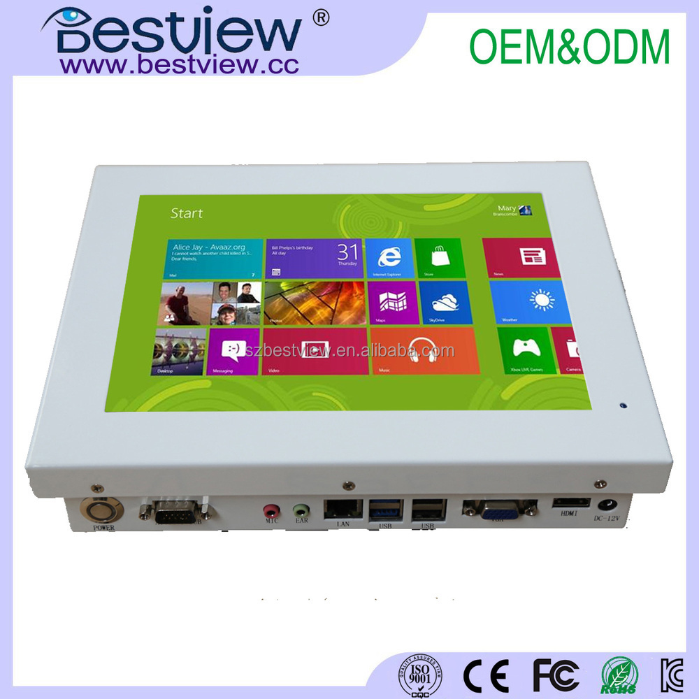 White mini pc 10 inch touch screen mini pc with 4 USB 2 RS232