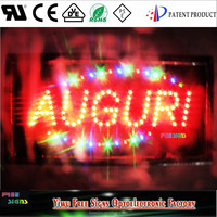 5W energy saving led neon open sign for all businness/Ultra Bright LED Neon Light Animated AUGURI OPEN Sign