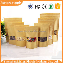 Custom printed ziplock kraft paper stand up pouch/with zipper and window food packaging bag