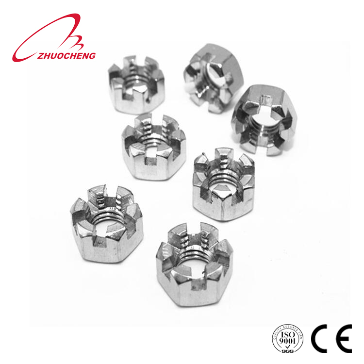 High quality stainless <strong>steel</strong> 304 316 M8-M24 hex slotted nut