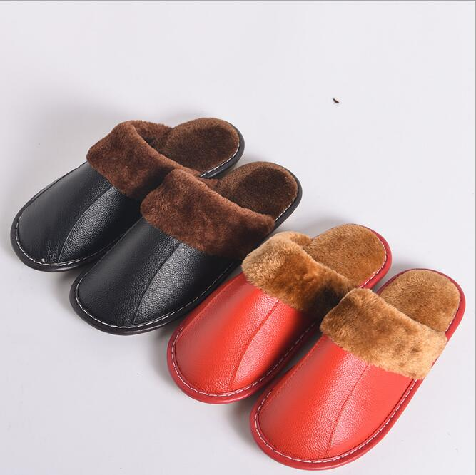 LM5065Q winter warm slippers non - slip couple slippers women leather slippers