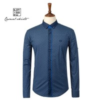 Hot Selling Wholesale Fashion Printed Blue Men Shirt, Turkey Cotton Long Sleeve Shirt for Men, Men's Slim Casual Style Shirts