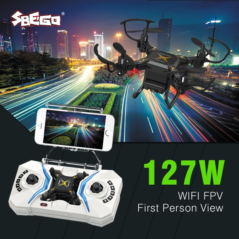 Flytec SBEGO Smart RC Mini Pocket Drone 0.3MP HD Camera FPV Realtime WIFI 4 CH 6-Axis RC Toy Helicopter Quadcopter Dron 127W