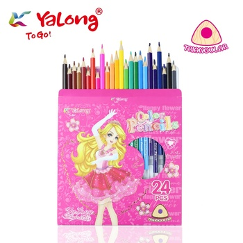Yalong YL83012-18  Basswood fashion graphic kids colored pencils set with color case 18 color pencil set