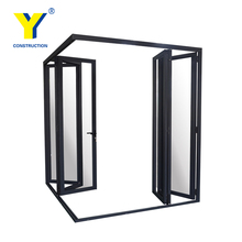 Aluminum bedroom door with glass with double glazing, aluminum frosted glass door