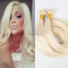 #613 keratin fusion tip 100% remy human hair extension double drawn flat tip hair extension