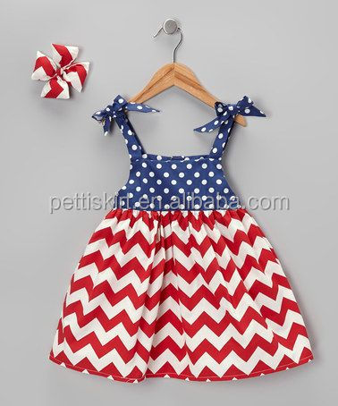 Girl Dress 4th of July Clothes Navy Star With Red Chevron Kids Patriotic Clothing