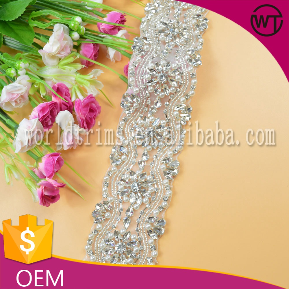 Wholesale 5.5cm hotfix beaded pearl and rhinestone crystal trim for bridal sash