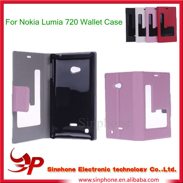 For Nokia Lumia 720 Flip Leather Wallet Hard Cover Case