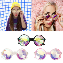Kaleidoscope Fireworks Glasses Rave Festival Party EDM Sunglasses Diffracted Lens Crystal Diamonds Double Sided Face