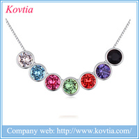 2016 colorful round beads necklace best-selling costume rainbow necklace jewellery