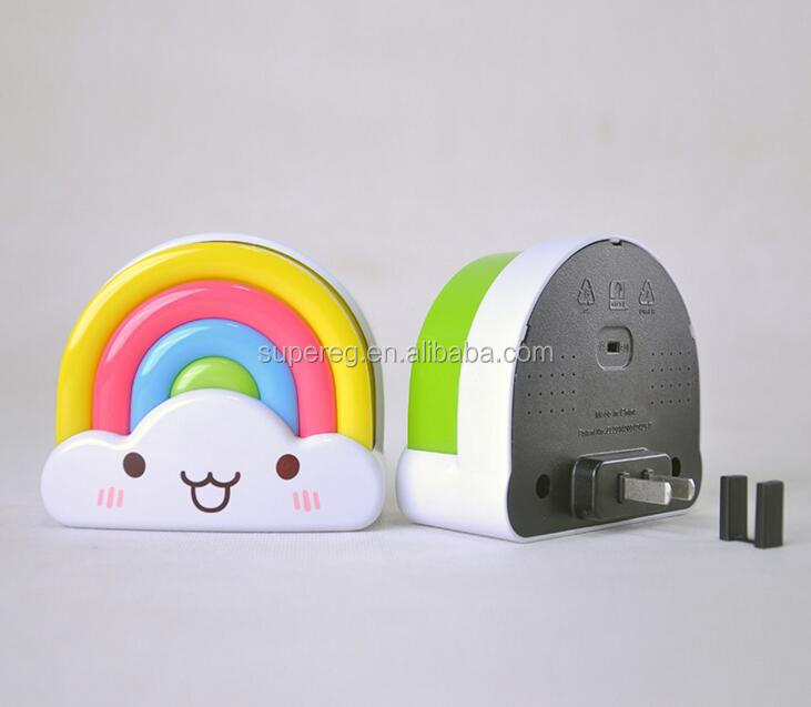 Creative LED sound/light sensor plug type rainbow night light for kids room baby bedroom