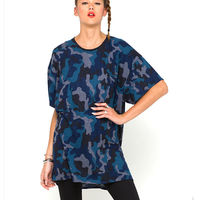 Wholesale Blue Camo Dress Sexy T-shirt Dress
